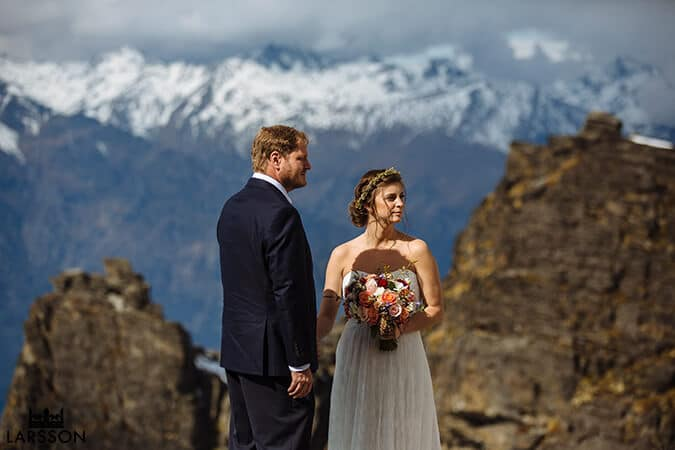 Mountain top wedding. Destination heli wedding Queenstown
