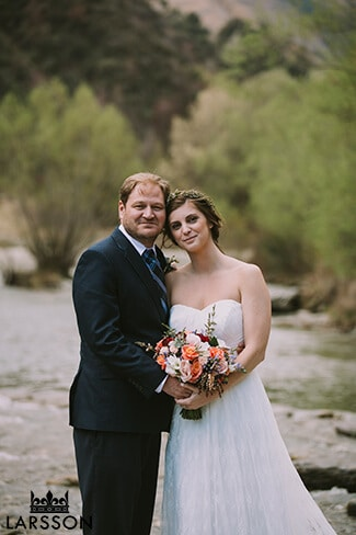 Arrowtown wedding photography. Bride and groom Destination heli wedding Queenstown
