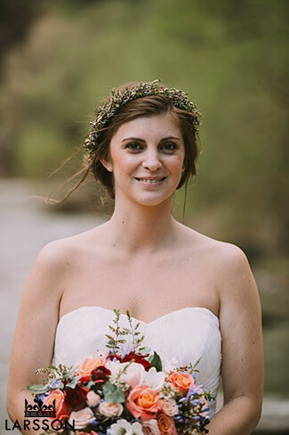 Spring bride with flower crown. Queenstown New Zealand