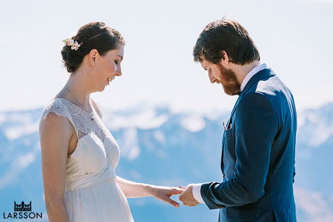 Destination wedding ceremony on the mountain in Queenstown