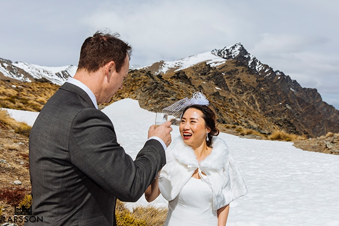 Spring wedding ceremony on The Remarkables Queenstown