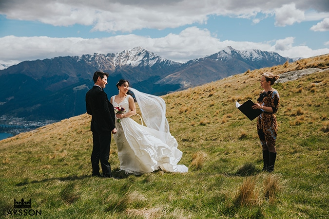 Queenstown wedding ceremony on Deer Park heights, NZ destination wedding