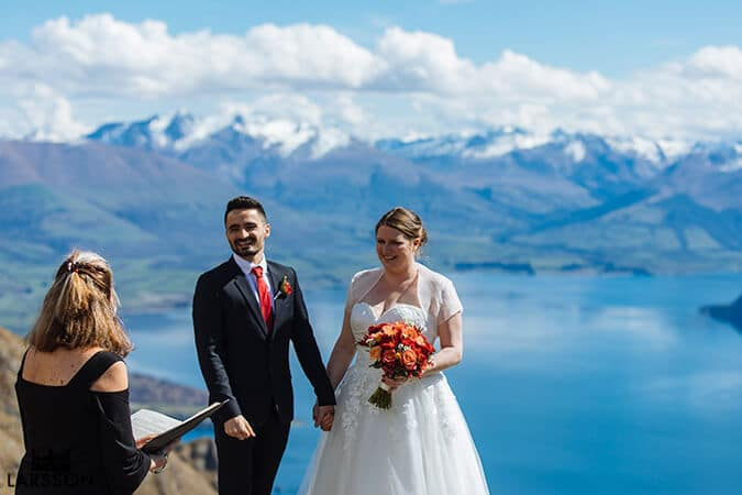 spring wedding ceremony on the Ledge. Destination Heli wedding Queenstown