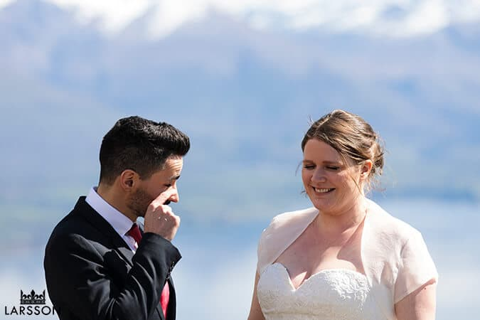 shedding a tear during wedding ceremony. Destination Heli wedding Queenstown
