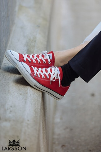 Red converse wedding shoes for bride and groom. Destination Heli wedding Queenstown