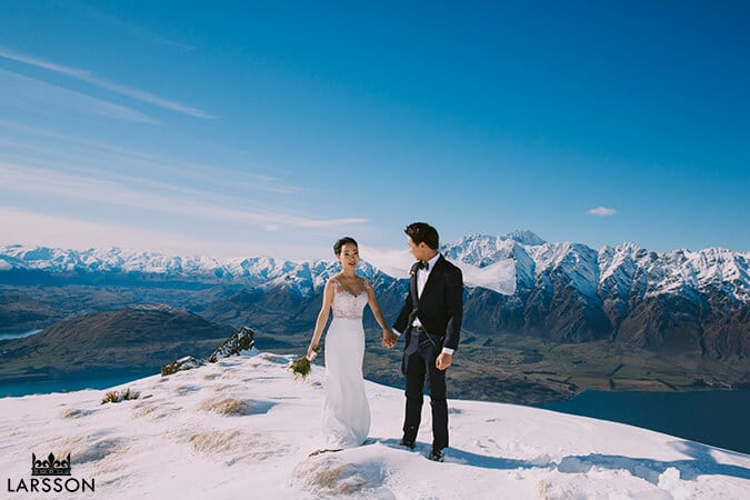 Bride and groom Cecil Peak, Queenstown New Zealand