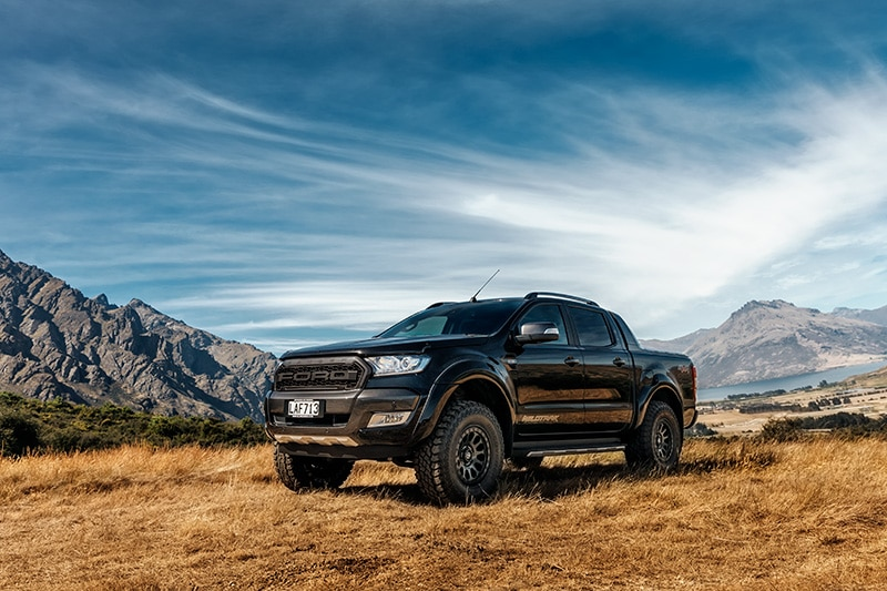 Black Ford Ranger Wildtrak wedding car in Queenstown