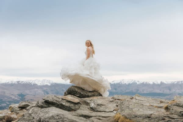 Bride on the mountain in Queenstown