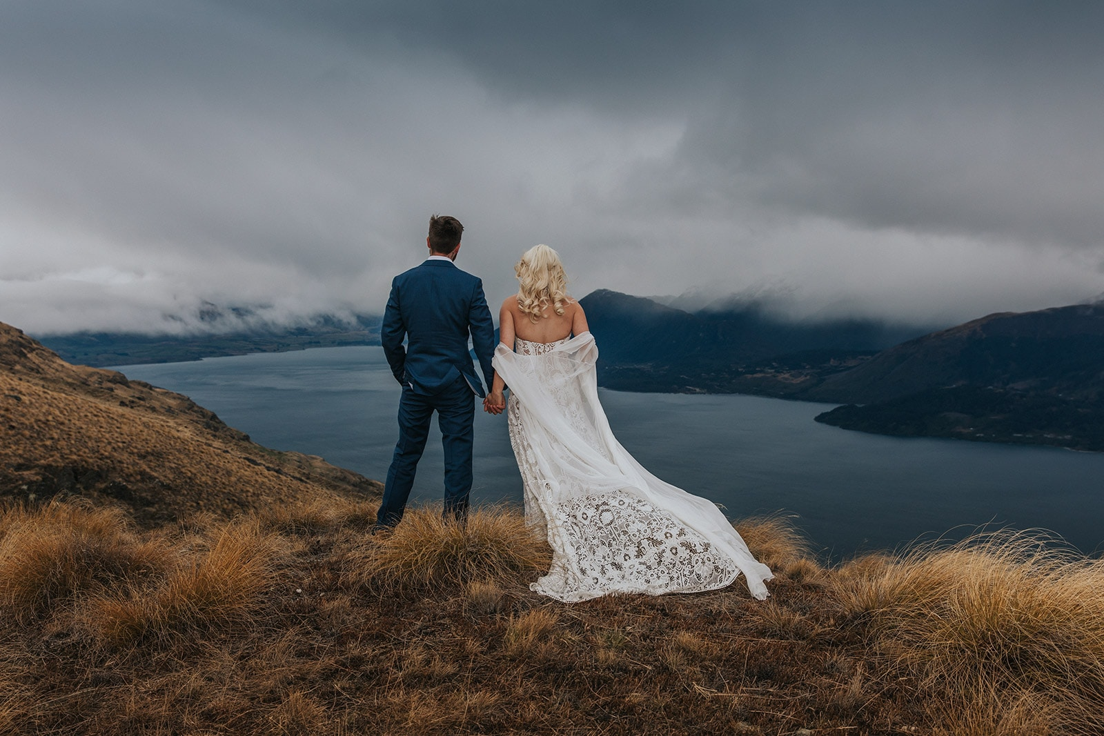 Rue de seine dress on a beautiful bride at a Queenstown mountain wedding