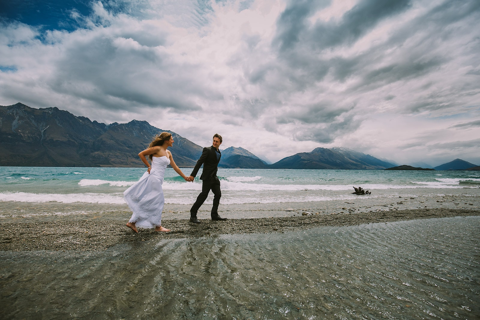 Glenorchy wedding, Walking by the water in paradise Glenorchy